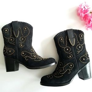 Frye | Black Studded Suede Festival Ankle Booties